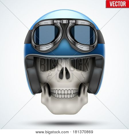 Human skull with Vintage motorcycle or chopper helmet and goggles. Vector Illustration on isolated white background