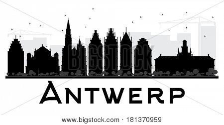 Antwerp City skyline black and white silhouette. Simple flat concept for tourism presentation, banner, placard or web site. Cityscape with landmarks