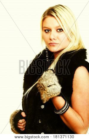 Portrait of young attractive fur woman isolated