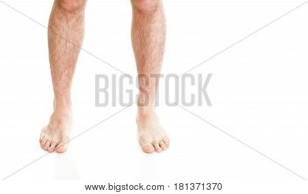 Male Hairy Legs Isolated On White