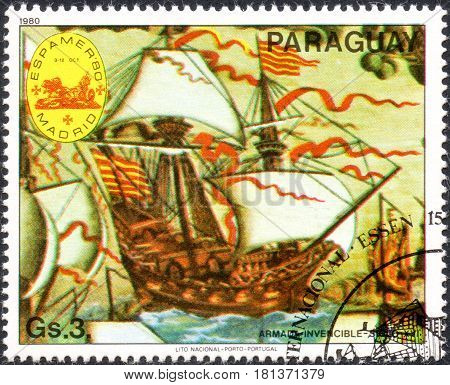 UKRAINE - CIRCA 2017: A postage stamp printed in Paraguai shows Invincible Armada - 16th century from the series International stamps exhibitions: ship paintings circa 1980