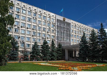 PETROPAVL, KAZAKHSTAN - JULY 24, 2015: Administrative building of akimat (center of executive power) of the North-Kazakhstan region. Petropavl is a city in Kazakhstan close to the border with Russia.