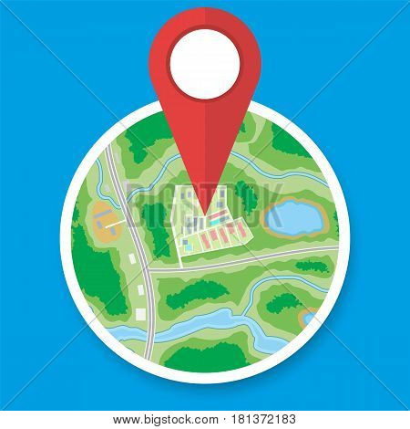Abstract circle generic city or suburb map with roads, buildings, parks, river. Map with red marker pin. Vector illustration in flat style
