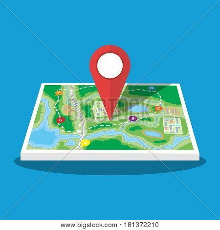 Abstract generic city or suburb map with roads, buildings, parks, river. Map with red marker pin. Vector illustration in flat style