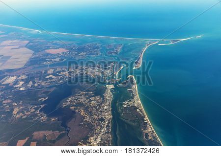 Aerial view on the eastern coast of Long Island. Robert Moses State Park on Fire Island. Typical landscape of islands and beaches. USA