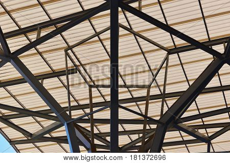 Black Truss Structure of industrial construction roof