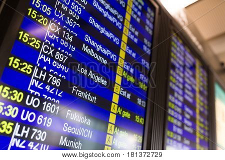 Departure timetable at the airport