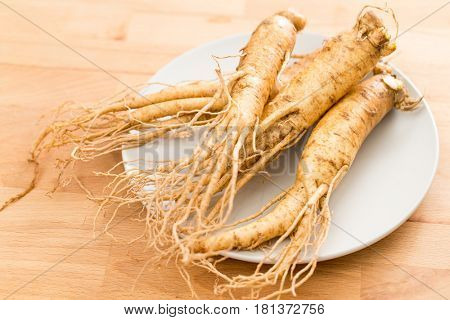 Korean Ginseng on plate