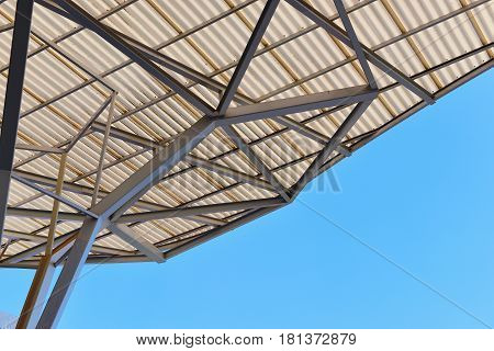 Grey Truss Structure of industrial construction roof