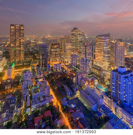Downtown Bangkok city, Skyscrapers at sunset, Thailand