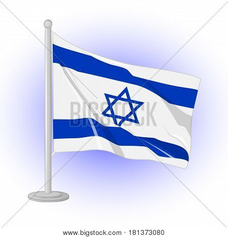 Israel flag flapping in the wind. Icon for your design isolated on blue background in simple cartoon style for Independence Day. Vector illustration. Holiday Collection.