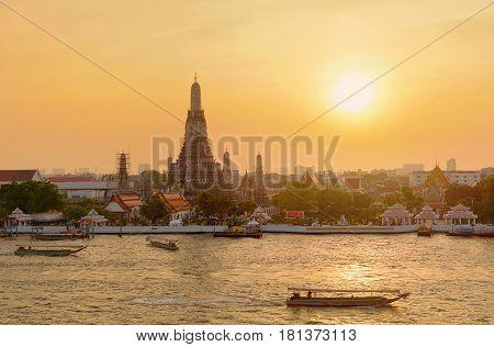 Temple of Dawn at sunset Bangkok Thailand
