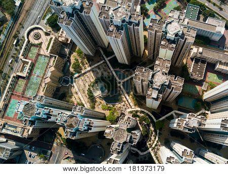 Top view of hong kong down town