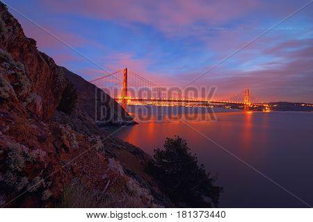 Golden Gate Bridge, San Francisco Skyline, Downtown San Francisco, California, Usa