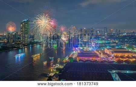 Fireworks At Asiatique The Riverfront, Bangkok, Thailand