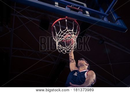 Basketball Player, Low Angle View, Slam Dunk