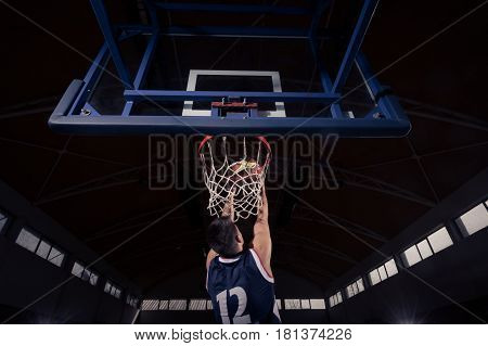 Basketball Player, Slam Dunk, Rear View, Back