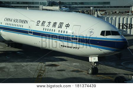 NEW YORK - JANUARY 21, 2016: China Southern Boeing 777 on tarmac at JFK International Airport in New York