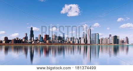 Skyline Of Chicago City With Reflection, Illinois. Usa.