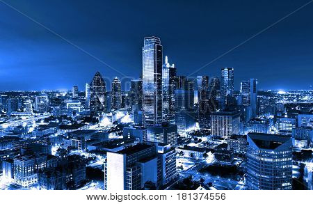 Skyscrapers, City Of Dallas At Night, Texas, Usa