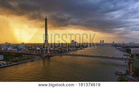 Rama VIII Bridge at sunset Bangkok Thailand
