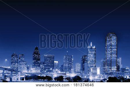 Downtown Dallas city at night Texas USA