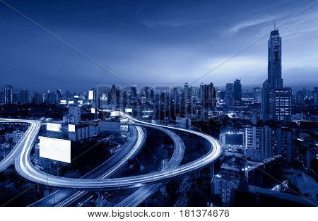 Downtown Bangkok Highway, express way at night, Thailand