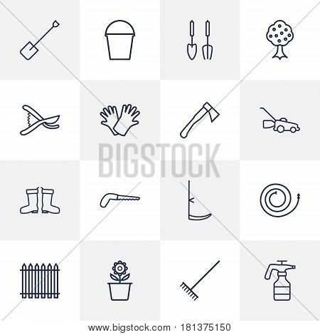 Set Of 16 Farm Outline Icons Set.Collection Of Plant Pot, Arm-Cutter, Scythe And Other Elements.