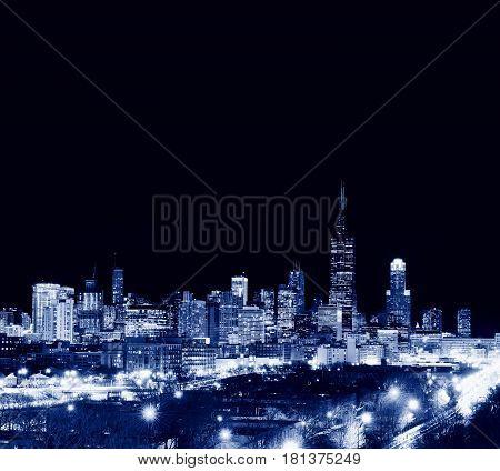 Skyscrapers In Chicago City, Skyline, Illinois, Usa