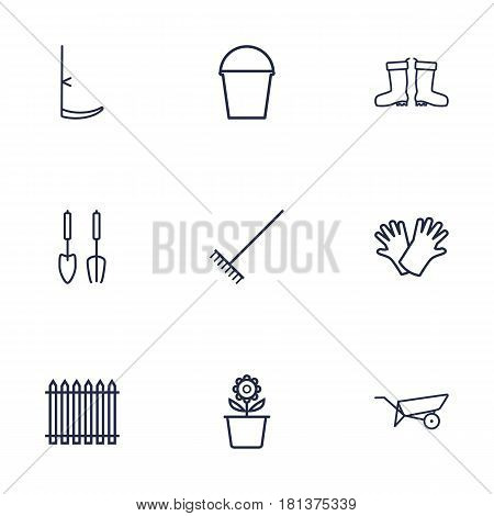 Set Of 9 Farm Outline Icons Set.Collection Of Safer Of Hand , Barrow, Instruments Elements.