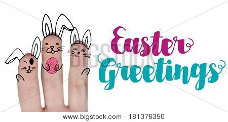 Vector image of fingers painted as Easter bunny against easter greeting