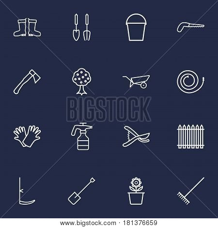 Set Of 16 Farm Outline Icons Set.Collection Of Instruments, Waterproof Shoes, Hatchet And Other Elements.