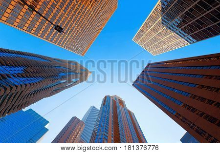 Skyscrapers in Chicago City with blue sky  illinois USA