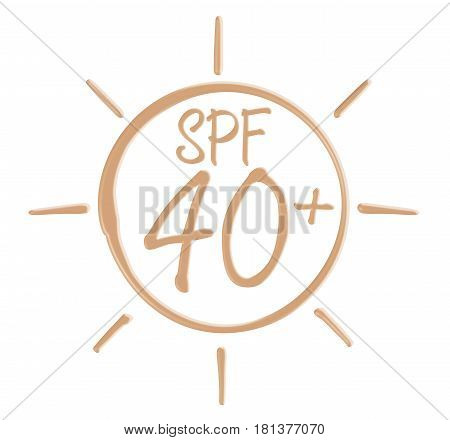 Drawing SPF 40 icon from sunscreen lotion on isolated background.