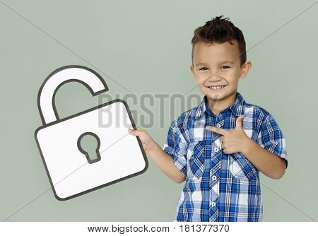 Student Boy Holding Paper Unlock Icon