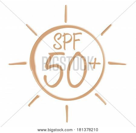 Drawing SPF icon from sunscreen lotion on isolated background.