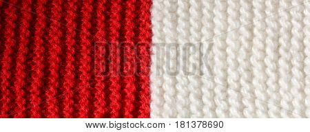 background of Red and White wool of a dress made by hand