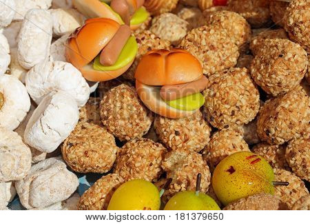 Foods Of Marzipan With A Sausage And Many Biscuits