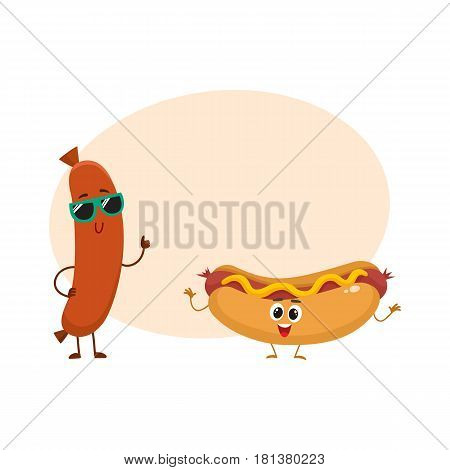 Funny smiling sausage and hotdog characters in sunglasses showing thumb up, fast food concept, cartoon vector illustration with space for text. Sausage and hotdog characters, mascots