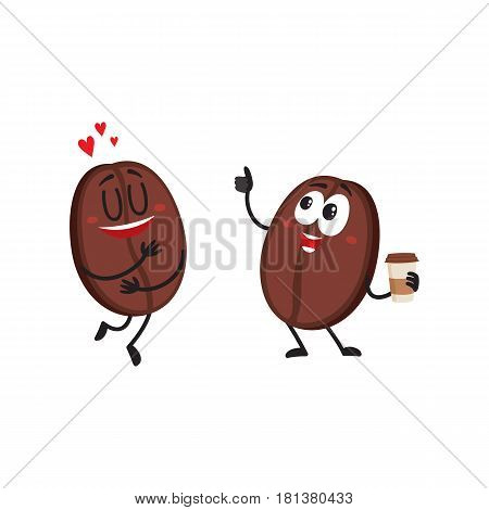 Two funny coffee bean characters, one showing love, another holding cup with thumb up, cartoon vector illustration isolated on white background. Two coffee bean characters, mascots, design elements