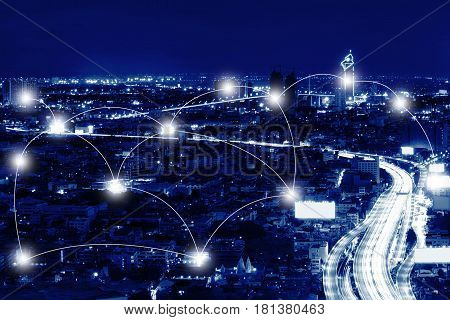 Network And Connection Technology Concept Of Sathorn District At Night , Bangkok, Thailand
