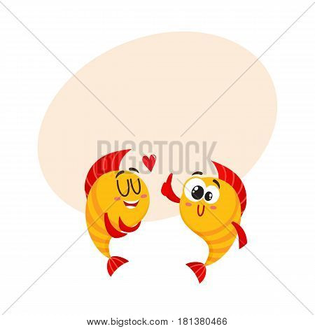 Two funny, smiling golden fish characters, one showing love, another giving thumb up, cartoon vector illustration with space for text. Yellow fish characters, mascots, love and friendship