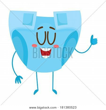 Baby diaper, nappy character with human face showing thumb up, newborn accessory, cartoon vector illustration isolated on white background. Baby diaper, nappy character, mascot, child care concept