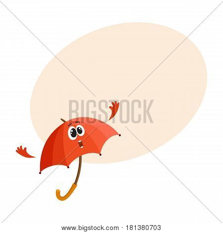 Cute and funny open red umbrella character with smiling human face giving thumb up, cartoon vector illustration with space for text. Open umbrella, parasol character, mascot, design element
