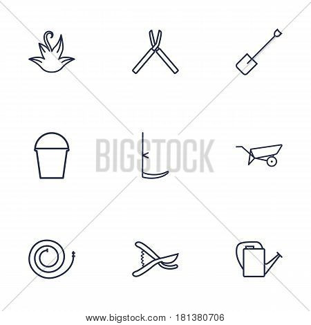 Set Of 9 Household Outline Icons Set.Collection Of Secateurs, Firehose, Spade And Other Elements.