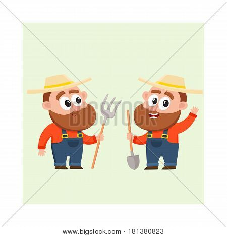 Two funny farmer, gardener characters in straw hat and overalls, one holding shovel, another with hayfork, cartoon vector illustration isolated on white background. Couple of comic farmer characters