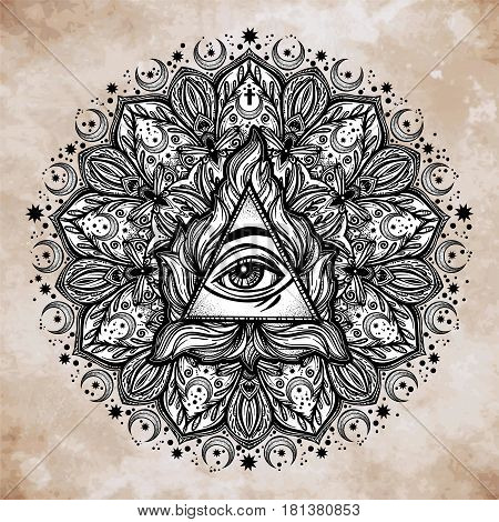 All seeing eye in ornate round mandala pattern. Mystic, alchemy, occult concept. Design for music cover, t-shirt , boho poster, flyer. Astrology, shamanism, religion. Coloring book pages for adults.