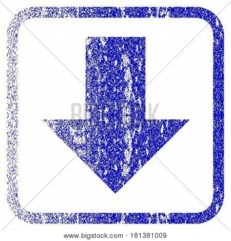 Arrow Down textured icon for overlay watermark stamps. Blue vectorized texture. Flat vector symbol with scratched design inside rounded square frame. Framed blue rubber seal stamp imitation.