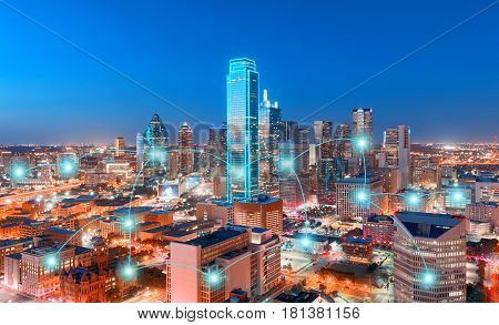 Network and Connection Technology Concept of Skyscrapers City of Dallas Texas USA