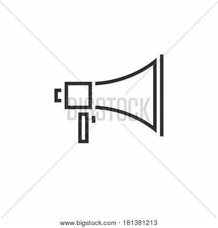 bullhorn line icon megaphone outline vector logo linear pictogram isolated on white pixel perfect illustration.